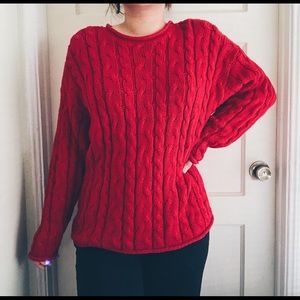 Vintage Red Cable Knit Chunky Crewneck Sweater